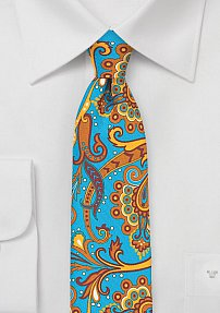 Trendy Carnaval Paisley Tie in Turquoise and Tangerine