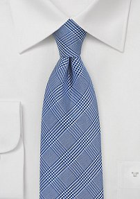 Italian Silk Tie with Blue Glen Check Weave