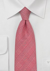 Italian Silk Glen Check Tie in Tomato Red