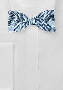 Self Tied Bow Tie with Glen Check Pattern in Blue and Silver