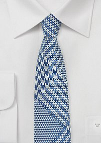 Prince of Wales Check Skinny Tie in Bright Blue