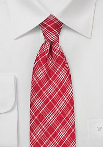 Bright Red and White Plaid Tie