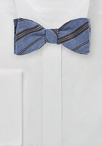 Winter Wool Bow Tie in Blue with Brown Stripes