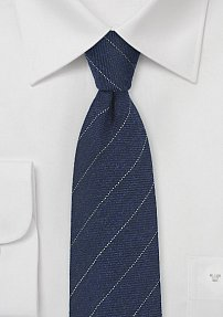 Dark Navy Pencil Stripe Tie in Wool