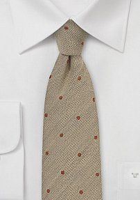 Sand Polka Dot Tie with Copper