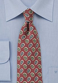 Pop-Art Paisley Tie in Red and Olive