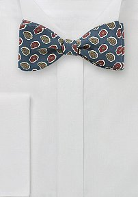Pop Art Paisley Bow Tie in Teal