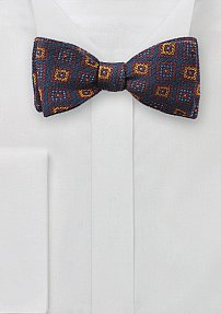 Wool Print Bow Tie in Burgundy, Gold, and Navy