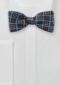 Self Tie Bow Tie in Blue with Medallion Print