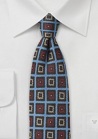 Slim Cut Medallion Print Wool Tie in Blue
