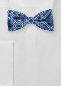 Ink Blue Bow Tie with Geo Print