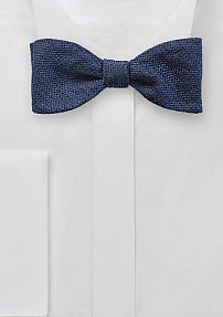 Self Tied Bow Tie in Textured Blue