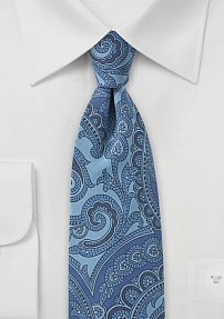 Blue Denim Colored Skinny Paisley Tie
