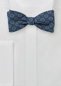 Medallion Print Bowtie in Washed Denim Color