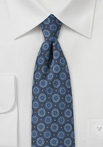 Skinny Medallion Print Tie in Washed Denim Color