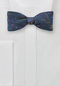 Wool Floral Print Bow Tie in Teal