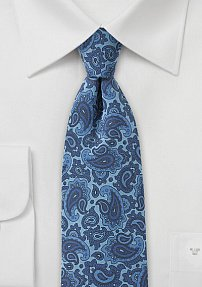 Denim Blue Colored Paisley Print Tie