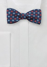 Navy Blue Bow Tie with Printed Florals in Red
