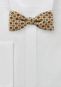 Pixel Art Bow Tie in Yellow, Blue, and Red