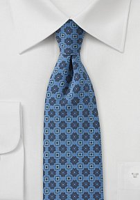 Denim Blue Colored Skinny Floral Print Tie