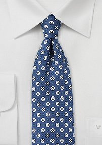 Blue and White Graphic Print Silk Tie