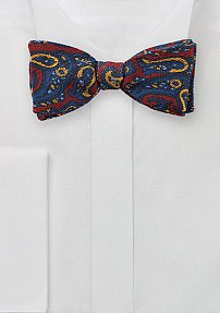 Winter Wool Bow Tie with Bold Paisley Print