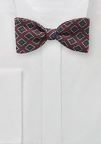 Wool Bow Tie in Burgundy with Diamond Print