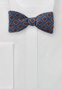 Vintage Diamond Check Bow Tie in Blue and Red