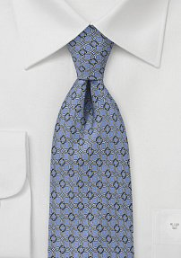 Graphic Loop Patterned Tie in Muted Periwinkle