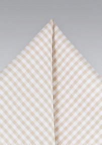 Gingham Cotton Pocket Square in Champagne