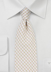 Cotton Gingham Tie in Golden Wheat