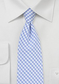 Cotton Gingham Tie in Sky Blue