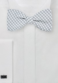 Mini Gingham Check Bow Tie in Silver and White