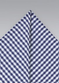 Summer Cotton Pocket Square with Blue Gingham Check