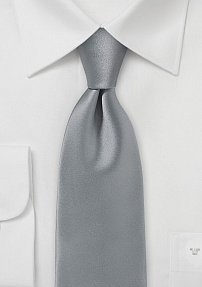 Formal Mens Tie in Silver with Satin Finish