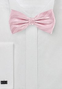 Solid Pink Bow Tie with Stripes