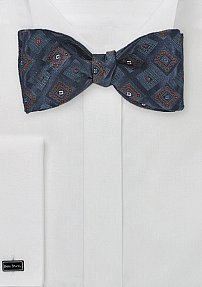 Diamond Motif Navy Blue Bow Tie