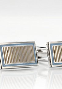 Elegant Cuff Link Set in Silver, Blue, and Bronze