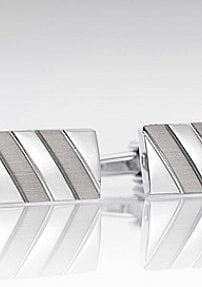 Silver Designer Cufflinks in Stripe Design