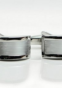 Silver Cufflinks with Mother of Pearl Inlay