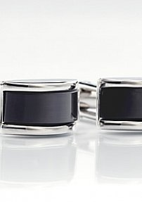 Charcoal Gray Glass Cuff Links