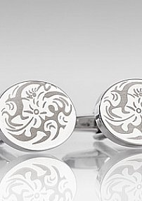 Circle Shaped Cufflinks With Flowers