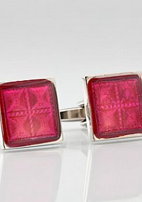 Square Silver Red Cuff Links