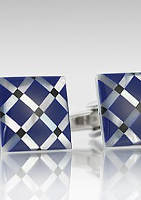 Square Cufflinks in Royal Blue and Mother of Pearl