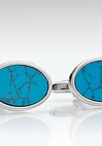 Oval Shaped Faux Turquoise Cufflinks