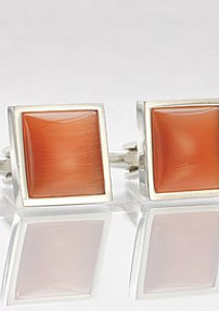 Stained Orange Glass Cufflinks