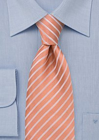 Handmade Silk Tie in Salmon-Orange