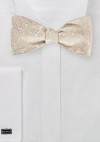 Self Tied Paisley Bow Tie in Light Cream