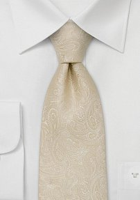 Cream Colored Wedding Tie in Modern Paisley Design