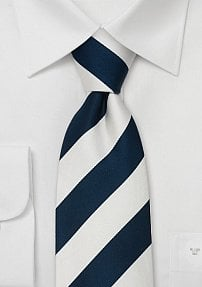 Extra Long Striped Tie in Dark Blue and White